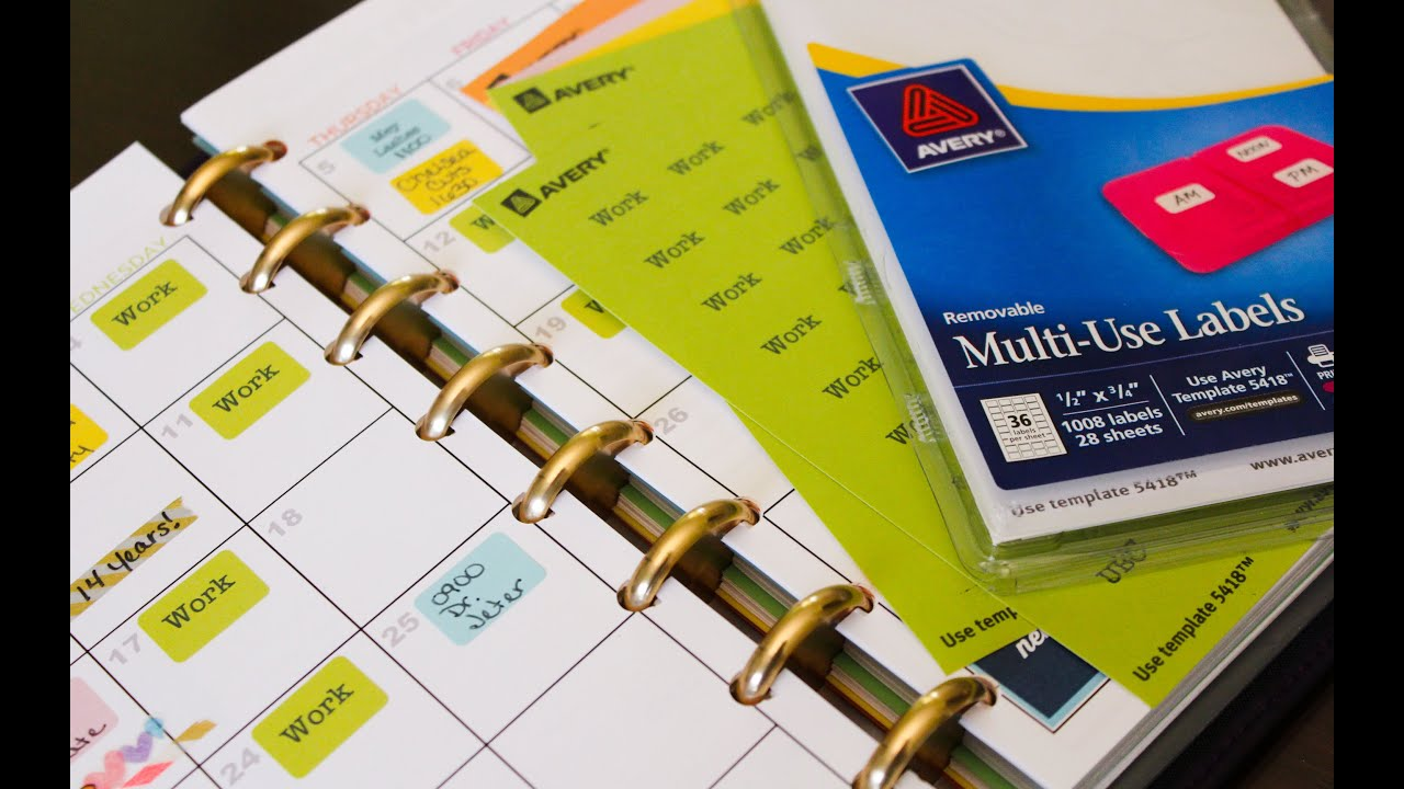 Color Coded Planner Labels Using Your Printer To Create