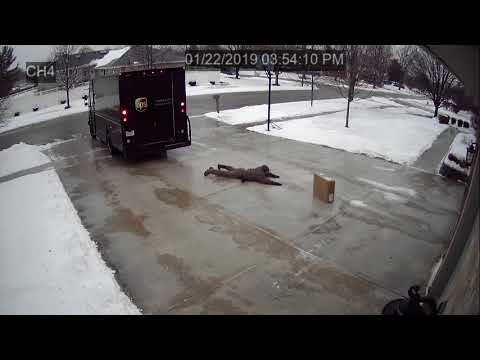 Denise Plante - UPS Delivery Guy vs. Icy Driveway, Hilarious