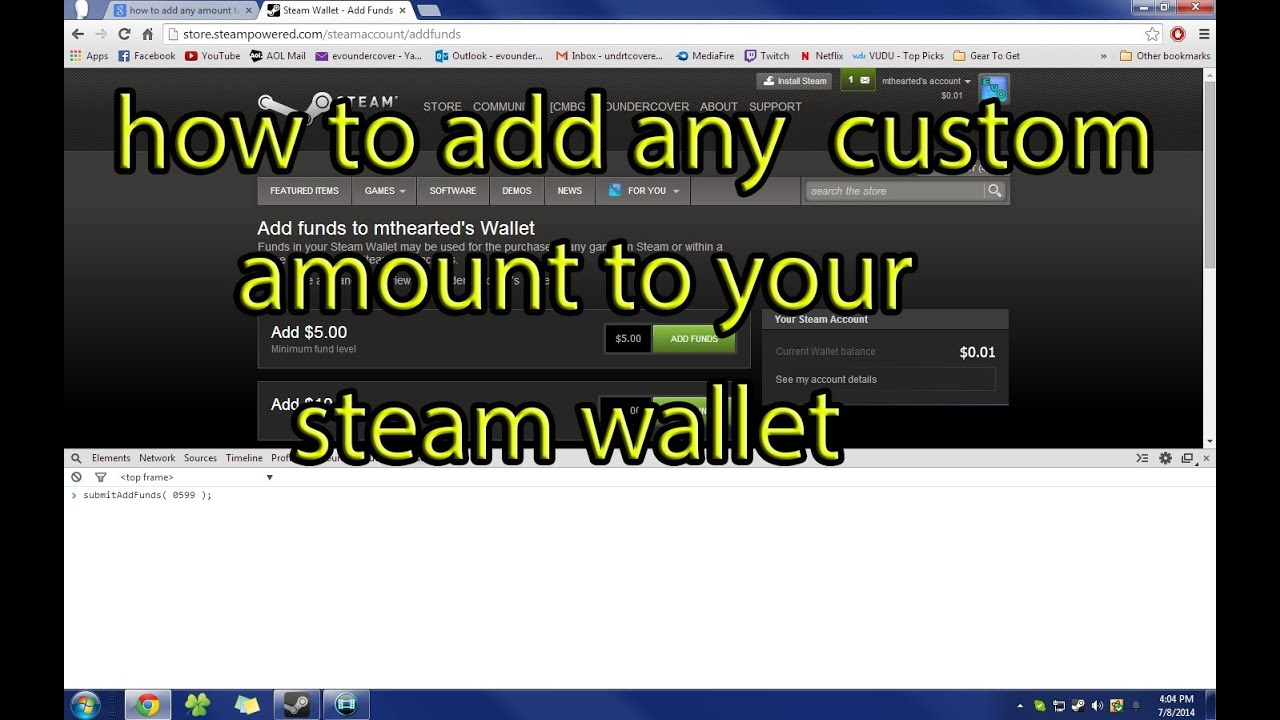How To Add Any Amount Of Money To Your Steam Wallet Youtube