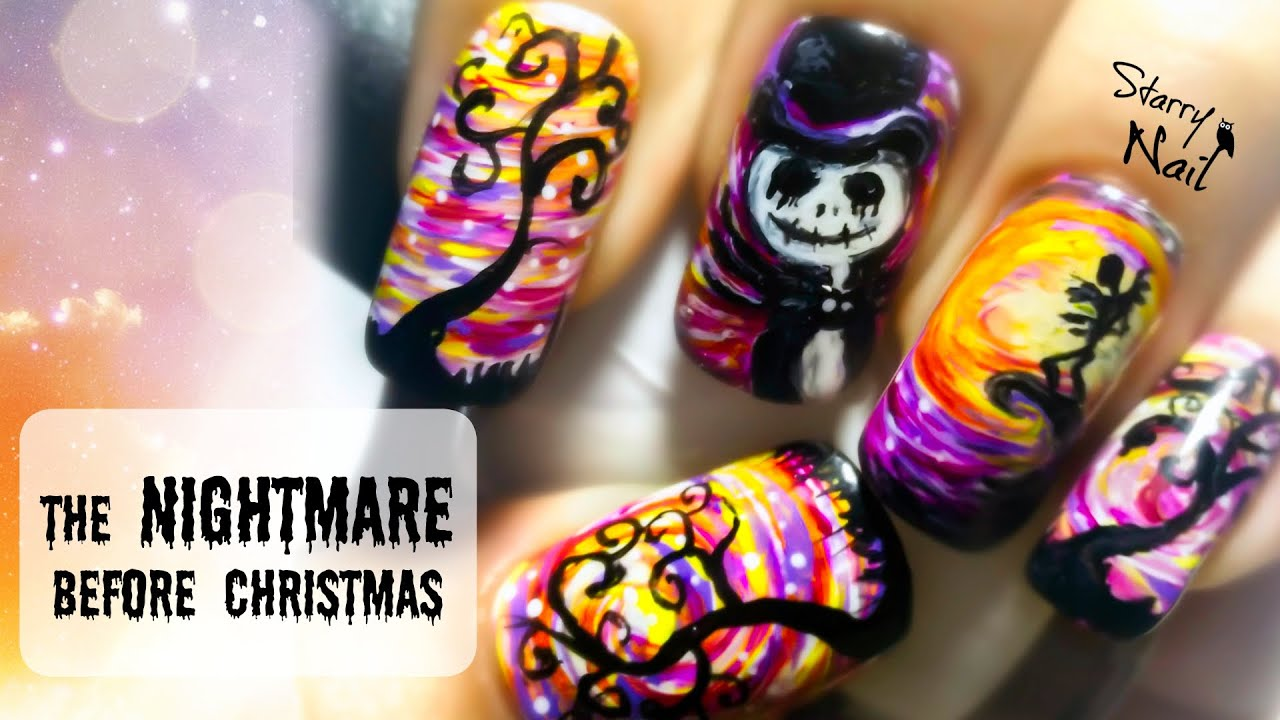 The Nightmare Before Christmas Freehand Halloween Nail Art Tutorial