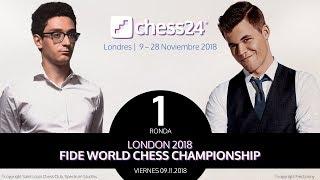 Campeonato del Mundo de Ajedrez 2018 (1): Magnus Carlsen - Fabiano Caruana.