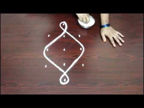 basic melika muggu with 5 to 3 dots-simple kolam designs-rangoli designs