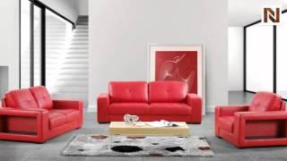Modern Red Leather Sofa Set - Vgdm3006