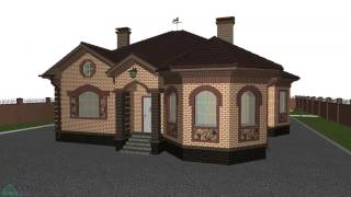Эскиз одноэтажного дома с двумя эркерами (вариант)  B-200-ТП