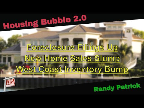 Housing Bubble 2.0 - Foreclosures Filings Up - New Home Sales Slump - West Coast Inventory Bump
