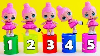 Learn Bucket Colors with Five Little Babies Jumping On The Bed Educational Videos Doll Song for kids