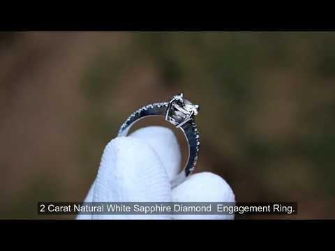 Best Diamond Alternative White sapphire engagement ring 18 k White gold 32%OFF