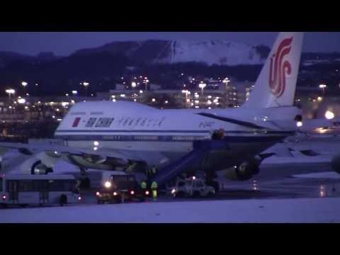 B-2447 Air China B747-4J6 takes off from Edinburgh Airport, Scotland