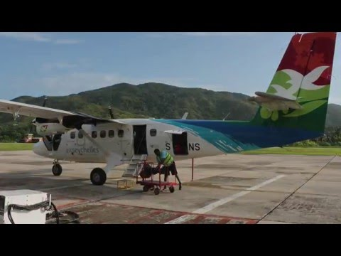 Air Seychelles DHC-6 Twin Otter Mahe-Praslin Takeoff, Inflight, Landing
