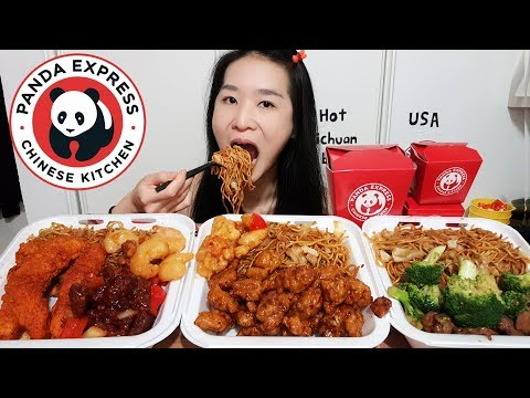 MASSIVE PANDA EXPRESS FEAST! Hot Sichuan Chicken, Chow Mein Fried Noodles - Chinese Take Out Mukbang