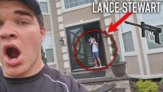 DING DONG DITCHING LANCE STEWART'S HOUSE! (lance 210) * HE SHOT ME WITH A PAINT BALL GUN*
