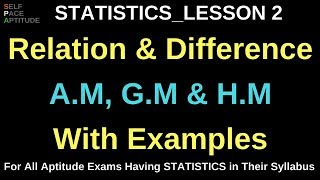 RELATION & DIFFERENCE AMONG A.M, G.M AND H.M _STATISTICS LESSON 2