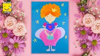 Как нарисовать Принцессу - урок рисования для детей 4-8 лет. Дети рисуют Принцессу поэтапно
