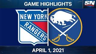 NHL Game Highlights   Rangers vs. Sabres - Apr. 1, 2021
