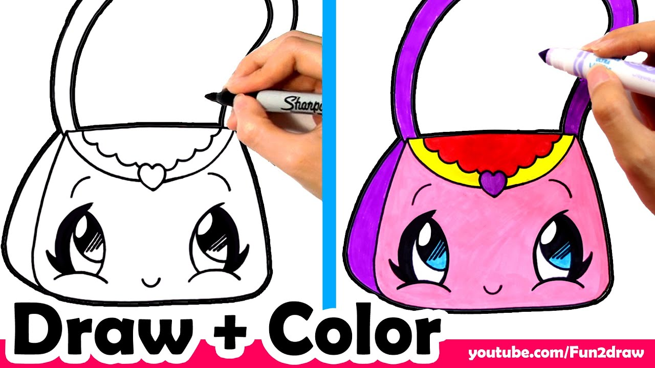 How to Draw a Purse Cute + Easy - Fun2draw - YouTube