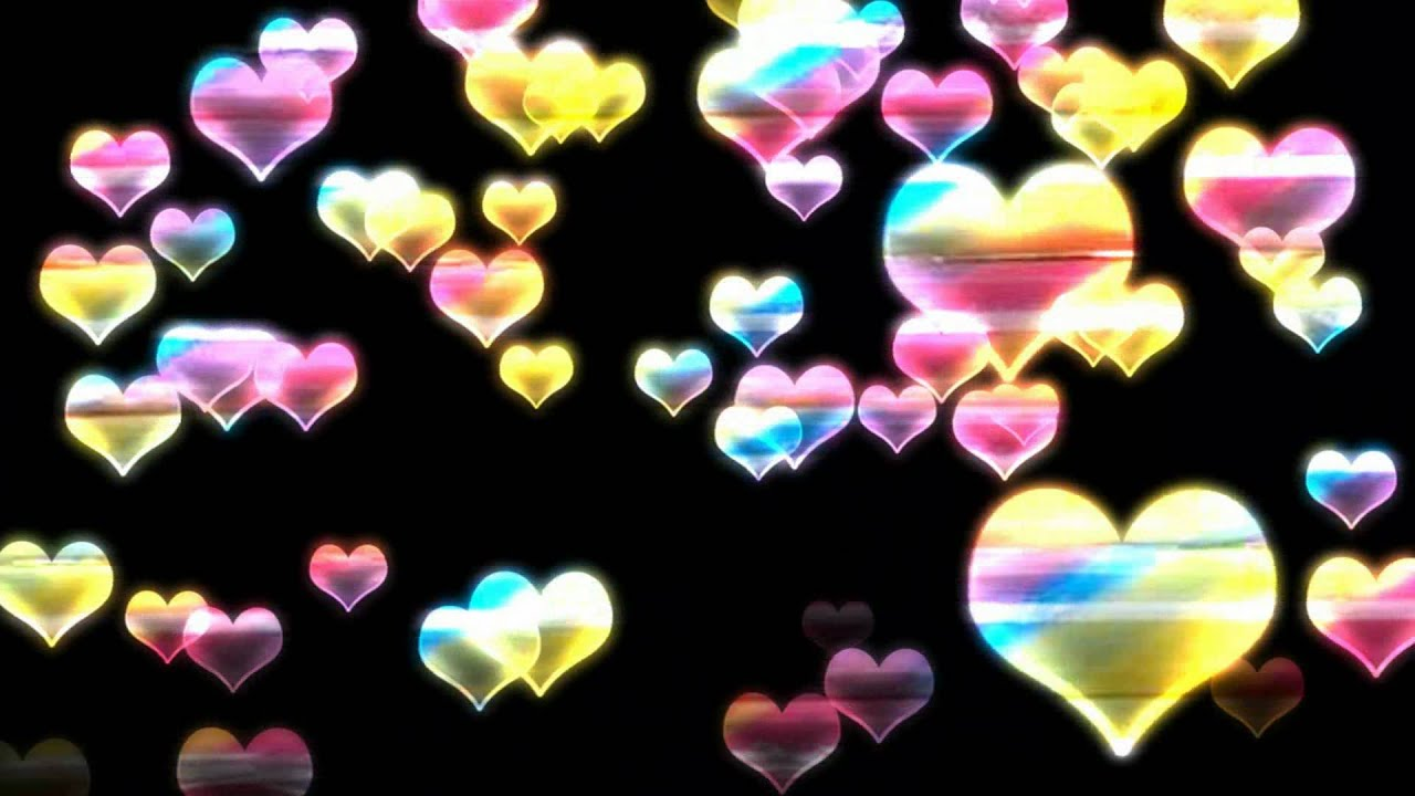 falling rainbow hearts motion graphics free download