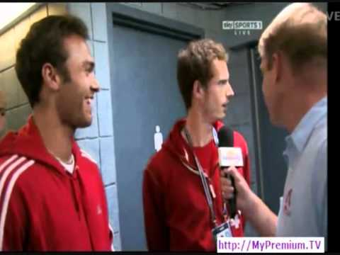 Funny Andy Murray And Ross Hutchins Sky Sports Interview - US Open 2011