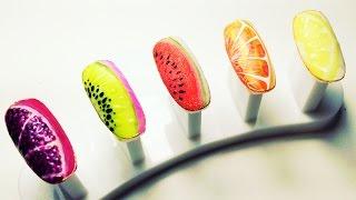 Дизайн ногтей СОЧНЫЕ ФРУКТЫ и ЯГОДЫ в разрезе ) апельсин, лимон, киви, арбуз, гранат)