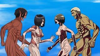Attack Titan, Mikasa Female Titan Vs Anine Female Titan And Armored Titan | Attack On Titan Season 4