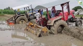 Swaraj 744 FE Stuck in Mud & Mahindra Arjun 555 Tractor stuck in Mud