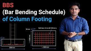 BBS OF COLUMN FOOTING (Footing reinforcement details)