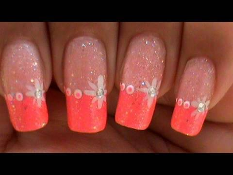 EASY QUICK STAR NAIL ART DESIGN TUTORIAL PINK GLITTER