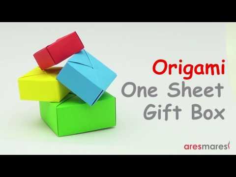 Origami gift box [Senbazuru] (easy - single sheet of paper)