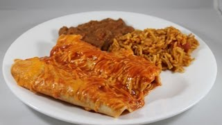 Enchilada's with Spanish Rice and Refried Beans