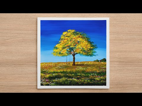 Daily Challenge #342 / Acrylic / Beautiful Spring Scenery Painting