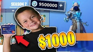 Kid Spends $1000 On Season 7 *MAX* Battle Pass With MOM's Credit Card (Fortnite)
