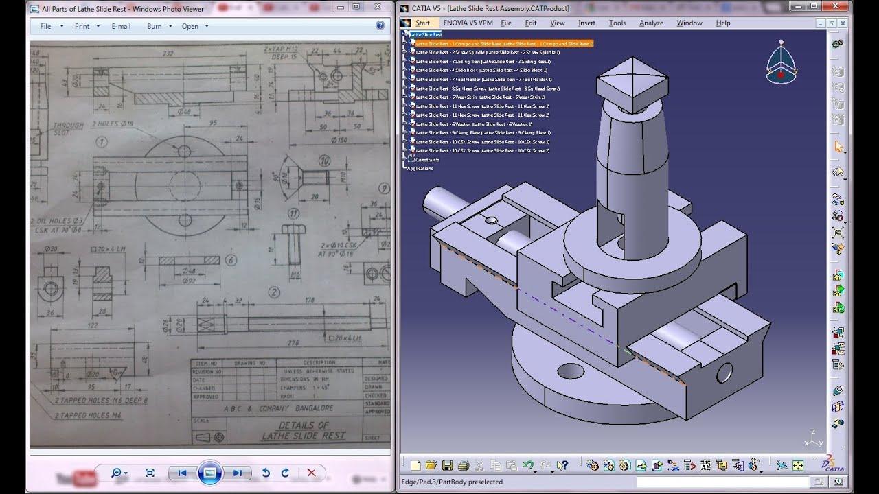 Catia V5 TutorialP1a How to Create  Assemble Lathe Slide RestMechanical Design Engnineering