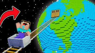 Minecraft NOOB vs PRO: NOOB FOUND RAILS TO THE EARTH! SECRET PLANET BASE! (Animation)