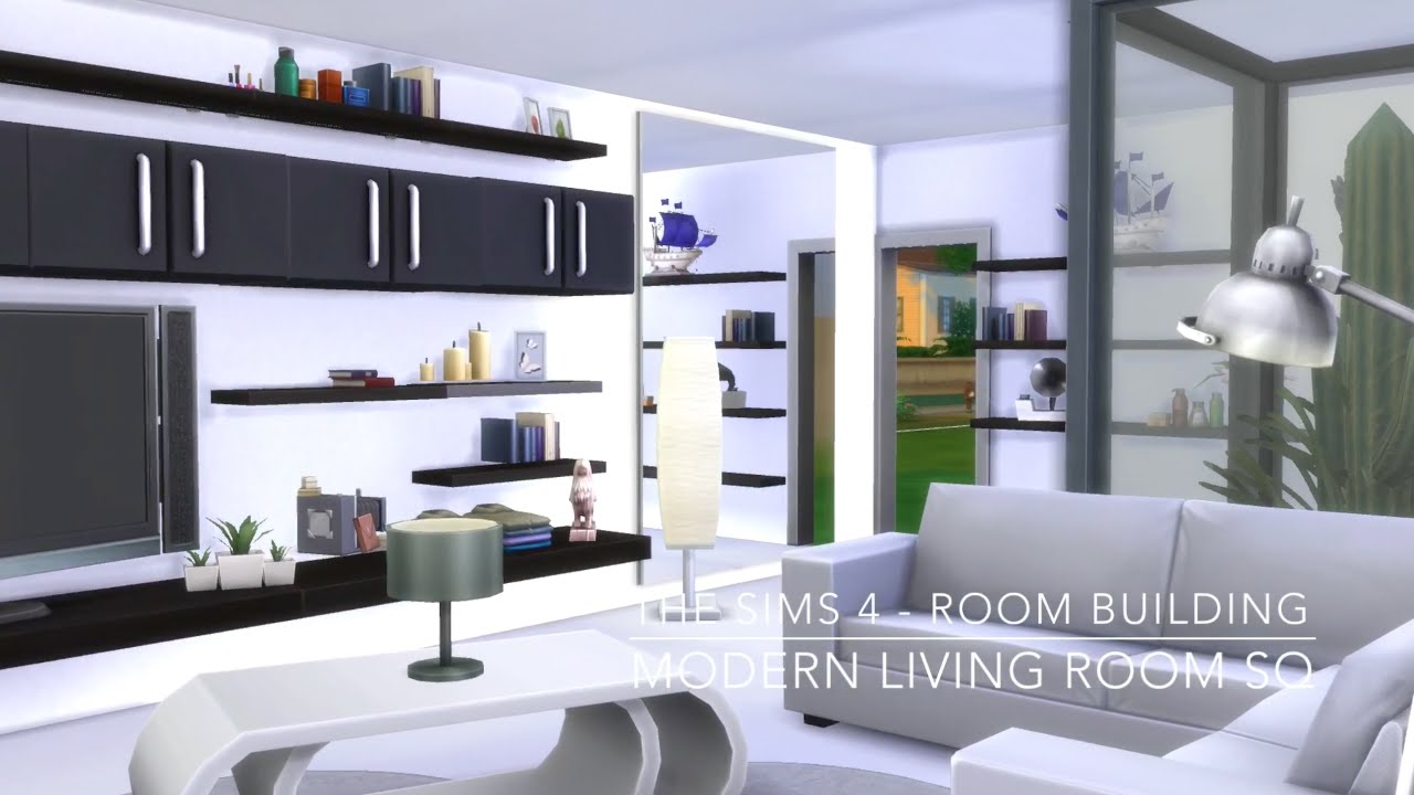 The sims 4 room building modern living room sq youtube for Modern living room sims 4
