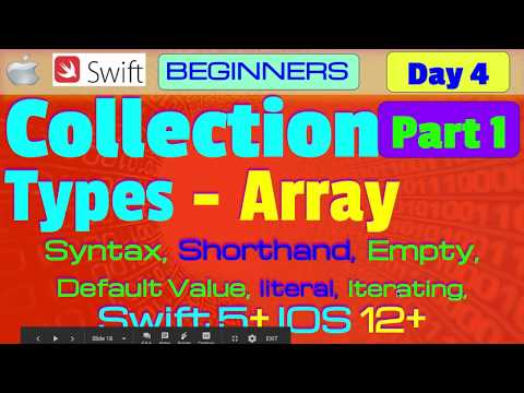 IOS , Swift 5, Theory, Tutorial, #04 P1  Collection Types  Arrays thumbnail
