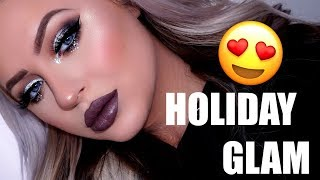 Full Face Holiday Glam Makeup Tutorial | Silver Cut Crease