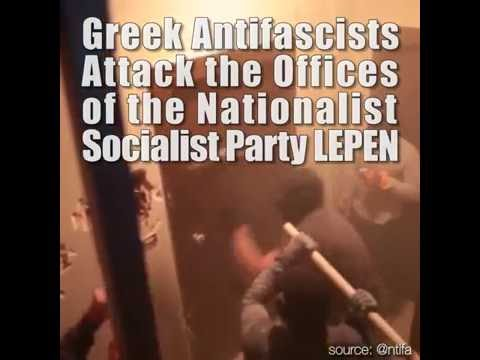 Antifascists Attack Greek National Socialist Party Offices