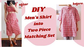 Refashion DIY Men's Shirt to Ruched Front Shirred Back Ruffle Top & Button-Down Midi Skirtㅣmadebyaya