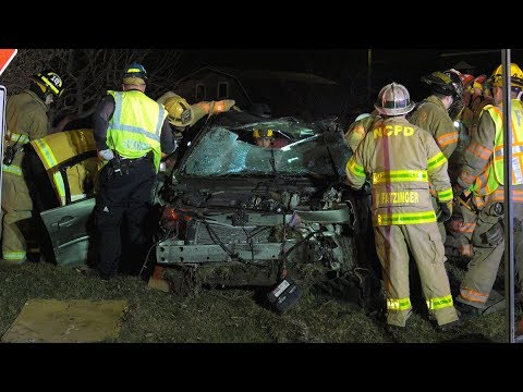 Auto Extrication after car splits in half in Northampton County, PA 04/03/18