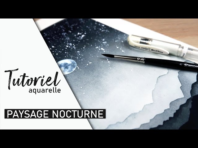 TUTO AQUARELLE - Peindre un paysage nocturne facile (débutant)