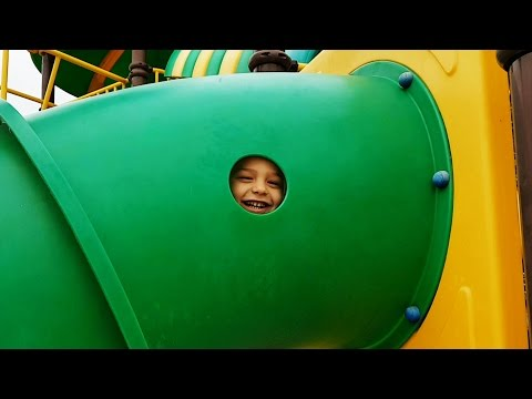 Outdoor playground fun for kids at Water Park.  Video from KIDS TOYS CHANNEL