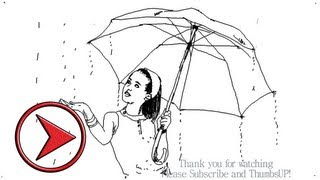 How to draw a girl with umbrella in Rain