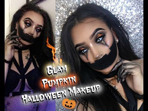 EASY Glam Jack-O-lantern Halloween Makeup Tutorial   Creepy Pumpkin