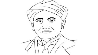 How to draw C.  V.  Raman face || Indian physicist C.  V.  Raman face Drawing