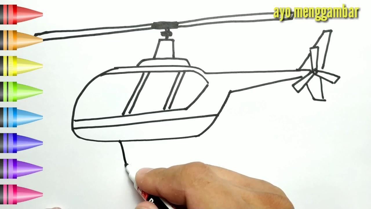 MUDAHNYA Ayo Belajar Cara Menggambar HELIKOPTER Dan Mewarnai Kartun Untuk Anak Anak Indonesia