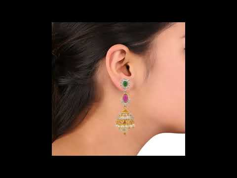 AIME608 Swasti Jewels Zircon CZ Fashion Jewelry Traditional Pearls Latest Jhumka Earrings for Women