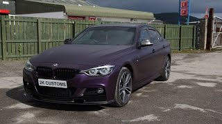 epic bmw 3 series full car wrap in black purple vinyl with black accents