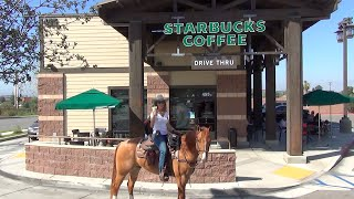 Starbucks Pony Espresso: Riding My Horse Thru the Drive Thru