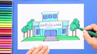 How to draw and color a Police Station
