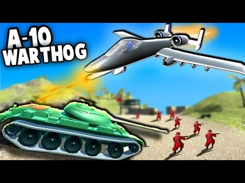 BRRRT!  A-10 Warthog AMAZING new Plane vs Tanks!  (Ravenfield New Modded Planes Gameplay)
