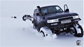 По следам Toyota Land Cruiser 80. УАЗ, Нива, Jeep Cherokee по снегу.